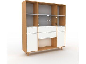 Vitrine - Blanc, design, pour documents, avec porte Blanc et tiroir Blanc - 154 x 168 x 35 cm