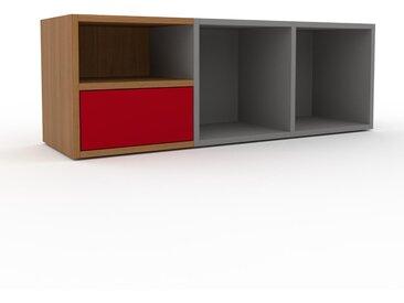 Range CD - Gris, moderne, meuble pour vinyles, DVD, avec tiroir Rouge - 118 x 41 x 35 cm, configurable