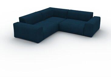 Canapé d'angle Velours - Bleu Nuit, design arrondi, canapé en L ou angle, confortable avec méridienne ou coin - 239 x 72 x 239 cm, modulable
