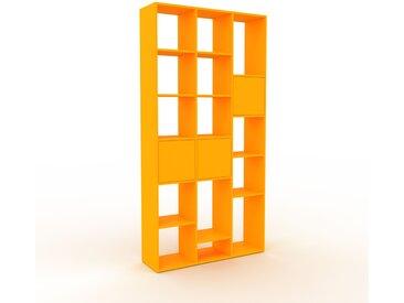 Bibliothèque - Jaune, pièce de caractère, rangements raffiné, avec porte Jaune - 118 x 233 x 35 cm, configurable