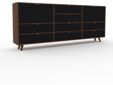 Enfilade - Noyer, design, buffet, avec porte Noir et tiroir Noir - 226 x 91 x 35 cm