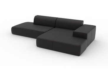 Canapé en cuir - Noir Cuir Aniline, lounge, esprit club ou cosy avec toucher chaleureux - 310 x 72 x 168 cm, modulable