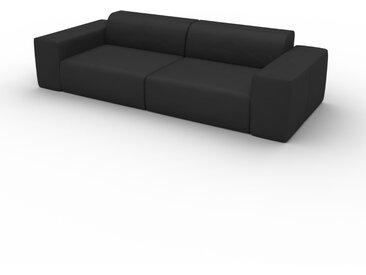 Canapé convertible - Noir, design arrondi, canapé lit confortable, moelleux et lit confortable - 266 x 72 x 107 cm, modulable