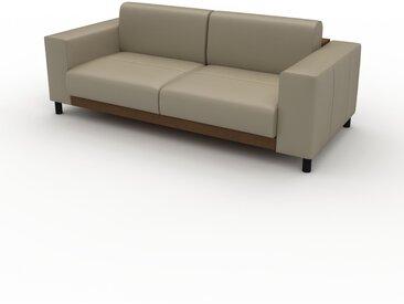 Canapé en cuir - Beige taupe Cuir Pigmenté, lounge, esprit club ou cosy avec toucher chaleureux, 208x 75 x 98 cm, modulable