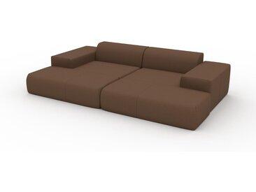 Canapé en cuir - Cognac Cuir Nubuck, lounge, esprit club ou cosy avec toucher chaleureux - 298 x 72 x 168 cm, modulable