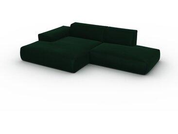 Canapé en U Velours - Vert Sapin, design arrondi, canapé d'angle panoramique, grand, bas et confortable - 284 x 72 x 168 cm, modulable