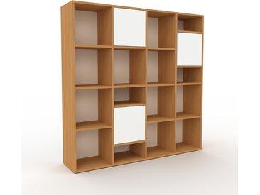 Bibliothèque - Chêne, pièce de caractère, rangements raffiné, avec porte Blanc - 156 x 157 x 35 cm, configurable
