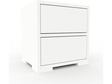 Table de chevet - Blanc, contemporaine, table de nuit, avec tiroir Blanc - 41 x 43 x 35 cm, modulable