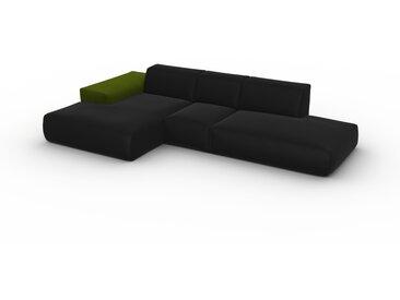 Canapé d'angle - Gris Pierre, design arrondi, canapé en L ou angle, confortable avec méridienne ou coin - 319 x 72 x 168 cm, modulable