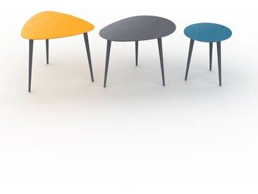 Tables basses gigognes - Bleu, triangulaire/ovale/ronde, design scandinave, set de 3 tables basses - 59/67/40 x 50/47/44 x 61/50/40 cm