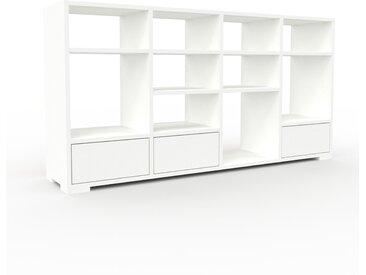 Bibliothèque - Blanc, modèle tendance, rangements pour livres, avec tiroir Blanc - 156 x 81 x 35 cm, modulable