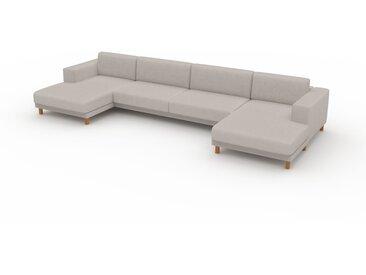 Canapé en U - Gris Clair, design épuré, canapé d'angle panoramique, grand et tendance, avec pieds - 408 x 75 x 162 cm, modulable