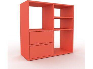 Range CD - rouge, moderne, meuble pour vinyles, DVD, avec tiroir rouge - 79 x 80 x 35 cm, configurable