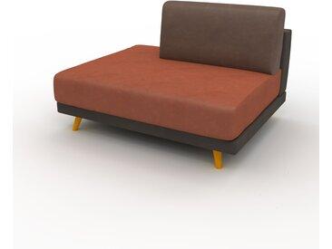Canapé en cuir - Marron café Cuir Végan, lounge, esprit club ou cosy avec toucher chaleureux, 120x 75 x 98 cm, modulable