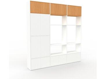 Bibliothèque murale - Blanc, modèle moderne, étagère, avec porte Blanc - 226 x 233 x 35 cm, modulable