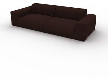 Canapé convertible Velours - Brun Café, design arrondi, canapé lit confortable, moelleux et lit confortable - 268 x 72 x 107 cm, modulable