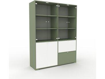 Vitrine - Verre clair transparent, design, pour documents, avec porte Verre clair transparent et tiroir Vert de gris - 152 x 196 x 47 cm