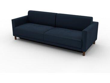 Canapé convertible Velours - Bleu Nuit, design épuré, canapé lit confortable, confortable avec coffre de rangement - 224 x 75 x 98 cm, modulable