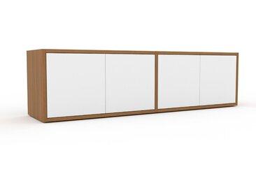 Buffet bas - Chêne, pièce de caractère, rangements bas de luxe, avec porte Blanc - 152 x 41 x 35 cm, personnalisable