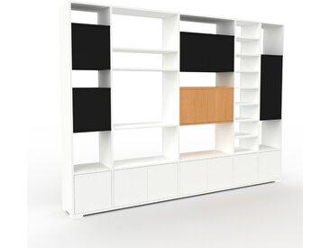 Bibliothèque murale - Blanc, modèle moderne, étagère, avec porte Blanc - 267 x 196 x 35 cm, modulable