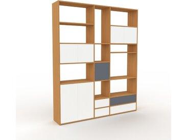 Bibliothèque - Chêne, design contemporain, avec porte Blanc et tiroir Blanc - 190 x 233 x 35 cm