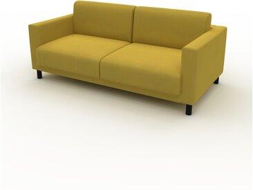 Canapé d'angle Velours - Jaune Colza, design épuré, canapé en L ou angle, élégant avec méridienne ou coin - 184 x 75 x 98 cm, modulable