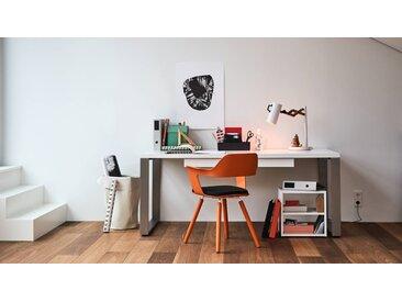 Bureau - Blanc, design industriel, table de travail de qualité, avec pieds en métal - 180 x 75 x 90 cm, personnalisable