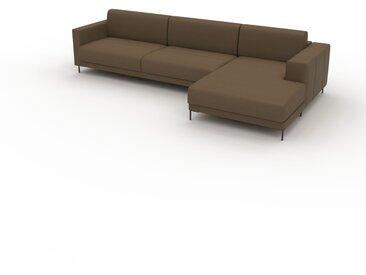 Canapé en cuir - Noix Cuir Nubuck, lounge, esprit club ou cosy avec toucher chaleureux, 316x 75 x 162 cm, modulable