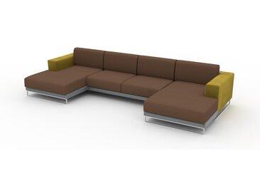 Canapé en cuir - Cognac Cuir Nubuck, lounge, esprit club ou cosy avec toucher chaleureux, 368x 75 x 162 cm, modulable