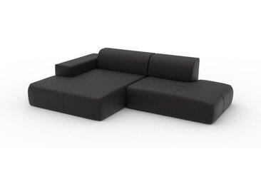 Canapé en cuir - Noir Cuir Aniline, lounge, esprit club ou cosy avec toucher chaleureux - 270 x 72 x 168 cm, modulable