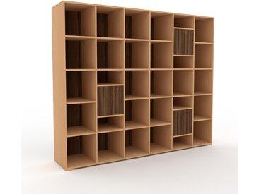 Système d'étagère - Hêtre, modulable, rangements, avec porte Noyer - 233 x 196 x 47 cm