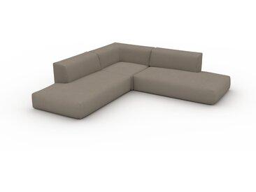 Canapé d'angle - Taupe Gris, design arrondi, canapé en L ou angle, confortable avec méridienne ou coin - 267 x 72 x 267 cm, modulable