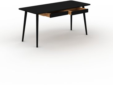 Bureau scandinave - Noir, design moderne, table de travail nordique, avec pieds inclinés et épurés - 160 x 75 x 70 cm, modulable