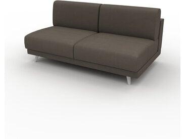 Canapé en cuir - Gris taupe Cuir Nubuck, lounge, esprit club ou cosy avec toucher chaleureux, 160x 75 x 98 cm, modulable