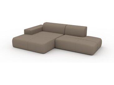 Canapé en cuir - Gris taupe Cuir Nubuck, lounge, esprit club ou cosy avec toucher chaleureux - 270 x 72 x 168 cm, modulable
