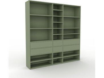 Bibliothèque murale - Vert de gris, design flexible, étagère, avec tiroir Vert de gris - 190 x 195 x 35 cm, configurable