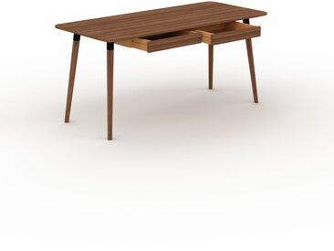 Bureau scandinave - Noyer, design moderne, table de travail nordique, avec pieds inclinés et épurés - 160 x 75 x 70 cm, modulable