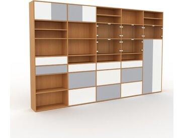 Vitrine - Chêne, design, pour documents, avec porte Verre clair transparent et tiroir Blanc - 375 x 233 x 35 cm