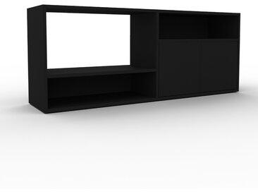Buffet bas - Noir, pièce de caractère, rangements bas de luxe, avec porte Noir - 152 x 61 x 35 cm, personnalisable