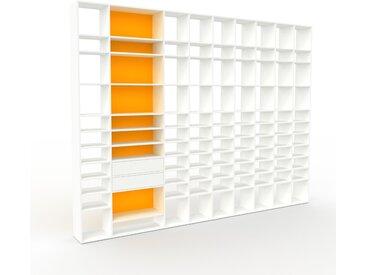 Système d'étagère - Blanc, modulable, rangements, avec tiroir Blanc - 385 x 291 x 35 cm