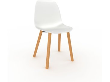 Chaise en bois blanc de 49 x 82 x 43 cm au design unique, configurable