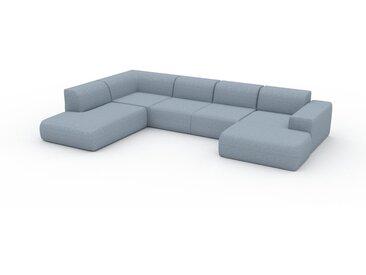 Canapé en U - Bleu Glacier, design arrondi, canapé d'angle panoramique, grand, bas et confortable - 366 x 72 x 241 cm, modulable