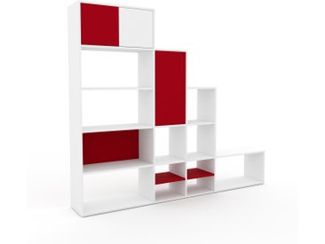 Système d'étagère - Blanc, modulable, rangements, avec porte Rouge - 229 x 195 x 35 cm