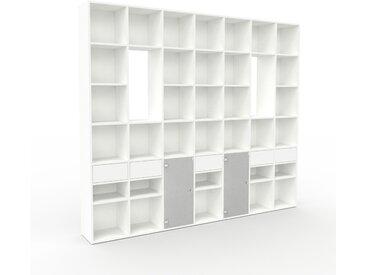 Vitrine - Blanc, design, pour documents, avec porte Verre clair dépoli et tiroir Blanc - 272 x 233 x 35 cm