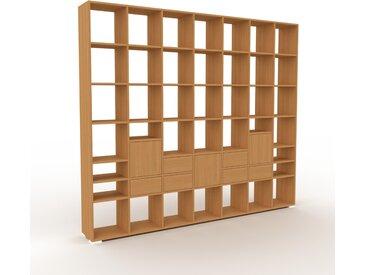 Bibliothèque - Chêne, design contemporain, avec porte Chêne et tiroir Chêne - 272 x 235 x 35 cm