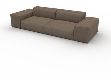 Canapé en cuir - Brun gris Cuir Végan, lounge, esprit club ou cosy avec toucher chaleureux - 296 x 72 x 107 cm, modulable