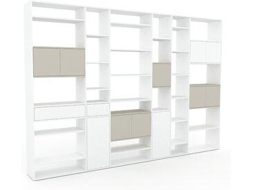 Bibliothèque - Blanc, design contemporain, avec porte Taupe et tiroir Blanc - 342 x 233 x 35 cm