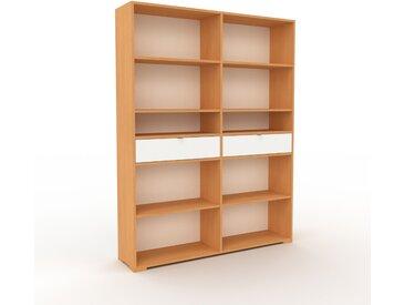 Bibliothèque - Hêtre, modèle tendance, rangements pour livres, avec tiroir Blanc - 152 x 196 x 35 cm, modulable