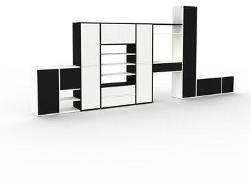 Système d'étagère - Blanc, design, rangements, avec porte Noir et tiroir Blanc - 457 x 195 x 35 cm