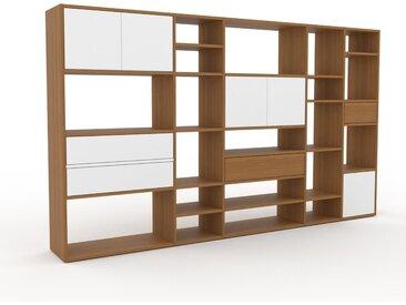 Bibliothèque - Chêne, design contemporain, avec porte Blanc et tiroir Blanc - 267 x 157 x 35 cm